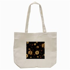 Golden Flowers On Black Background Tote Bag (cream)