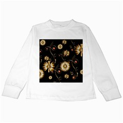 Golden Flowers On Black Background Kids Long Sleeve T Shirts