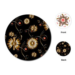 Golden Flowers On Black Background Playing Cards (Round)