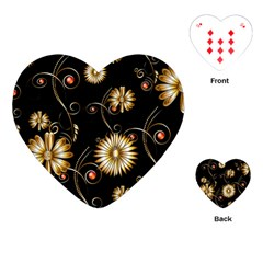 Golden Flowers On Black Background Playing Cards (heart)