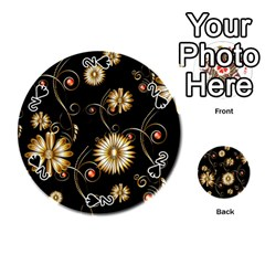 Golden Flowers On Black Background Playing Cards 54 (Round)