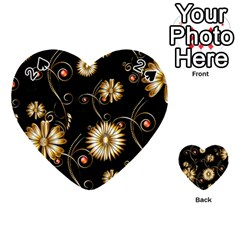 Golden Flowers On Black Background Playing Cards 54 (Heart)