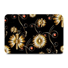 Golden Flowers On Black Background Plate Mats