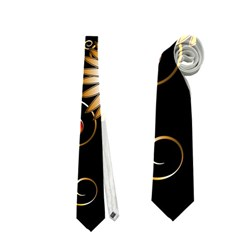 Golden Flowers On Black Background Neckties (One Side)