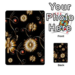 Golden Flowers On Black Background Multi-purpose Cards (Rectangle)