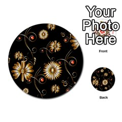 Golden Flowers On Black Background Multi-purpose Cards (Round)