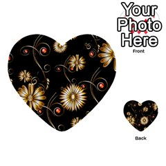 Golden Flowers On Black Background Multi-purpose Cards (Heart)