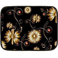 Golden Flowers On Black Background Fleece Blanket (mini)