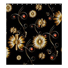 Golden Flowers On Black Background Shower Curtain 66  X 72  (large)