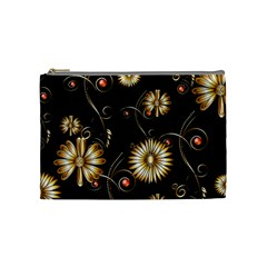 Golden Flowers On Black Background Cosmetic Bag (Medium)