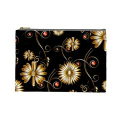 Golden Flowers On Black Background Cosmetic Bag (Large)
