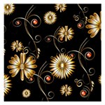 Golden Flowers On Black Background Small Memo Pads 3.75 x3.75  Memopad