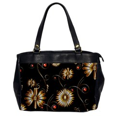 Golden Flowers On Black Background Office Handbags