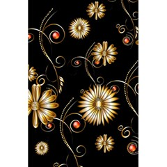 Golden Flowers On Black Background 5 5  X 8 5  Notebooks