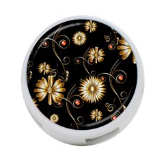 Golden Flowers On Black Background 4-Port USB Hub (Two Sides)