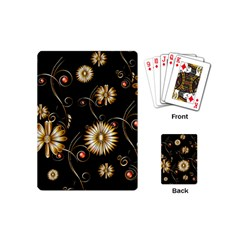 Golden Flowers On Black Background Playing Cards (Mini)