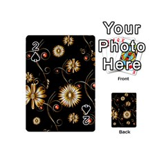 Golden Flowers On Black Background Playing Cards 54 (Mini)
