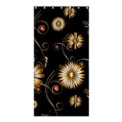 Golden Flowers On Black Background Shower Curtain 36  X 72  (stall)