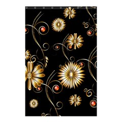 Golden Flowers On Black Background Shower Curtain 48  x 72  (Small)