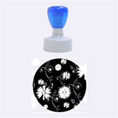 Golden Flowers On Black Background Rubber Round Stamps (Medium)