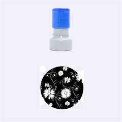 Golden Flowers On Black Background Rubber Round Stamps (Small)