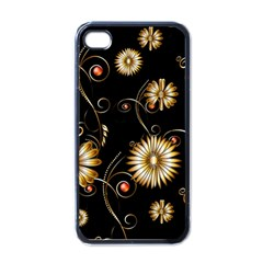 Golden Flowers On Black Background Apple iPhone 4 Case (Black)
