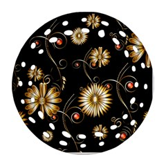 Golden Flowers On Black Background Round Filigree Ornament (2side)