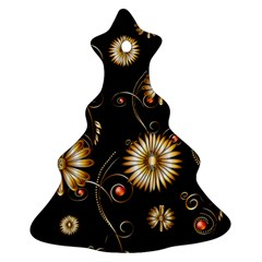 Golden Flowers On Black Background Christmas Tree Ornament (2 Sides)