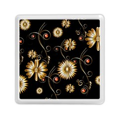 Golden Flowers On Black Background Memory Card Reader (Square)