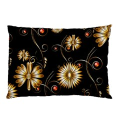 Golden Flowers On Black Background Pillow Cases (Two Sides)