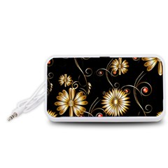 Golden Flowers On Black Background Portable Speaker (White)