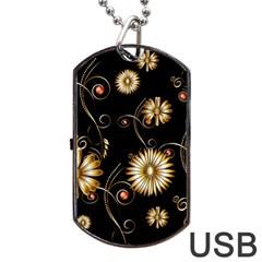 Golden Flowers On Black Background Dog Tag Usb Flash (two Sides)