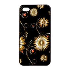 Golden Flowers On Black Background Apple Iphone 4/4s Seamless Case (black)
