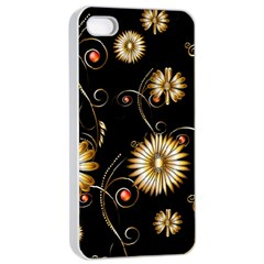 Golden Flowers On Black Background Apple iPhone 4/4s Seamless Case (White)