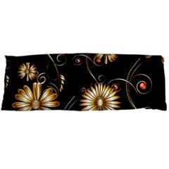 Golden Flowers On Black Background Body Pillow Cases (dakimakura)