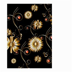 Golden Flowers On Black Background Small Garden Flag (Two Sides)