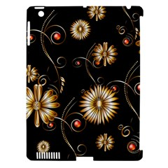 Golden Flowers On Black Background Apple iPad 3/4 Hardshell Case (Compatible with Smart Cover)