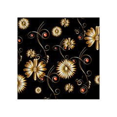 Golden Flowers On Black Background Acrylic Tangram Puzzle (4  x 4 )