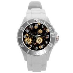 Golden Flowers On Black Background Round Plastic Sport Watch (L)