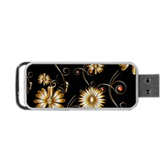 Golden Flowers On Black Background Portable Usb Flash (two Sides)