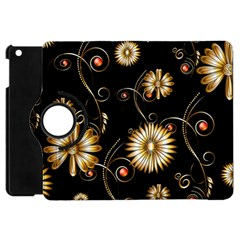 Golden Flowers On Black Background Apple iPad Mini Flip 360 Case