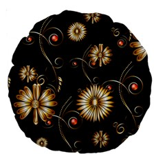 Golden Flowers On Black Background Large 18  Premium Round Cushions