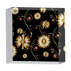 Golden Flowers On Black Background 5  x 5  Acrylic Photo Blocks