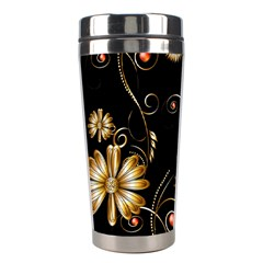 Golden Flowers On Black Background Stainless Steel Travel Tumblers