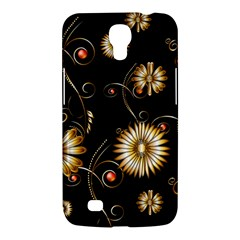 Golden Flowers On Black Background Samsung Galaxy Mega 6.3  I9200 Hardshell Case