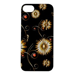 Golden Flowers On Black Background Apple iPhone 5S Hardshell Case