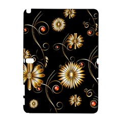 Golden Flowers On Black Background Samsung Galaxy Note 10 1 (p600) Hardshell Case