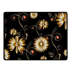 Golden Flowers On Black Background Double Sided Fleece Blanket (Small)