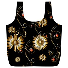 Golden Flowers On Black Background Full Print Recycle Bags (L)