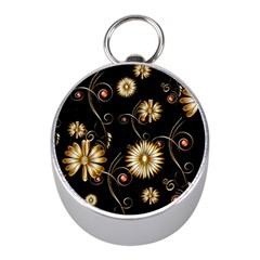 Golden Flowers On Black Background Mini Silver Compasses